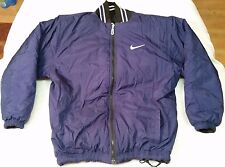 Nike full-zip reversible bomber jacket men sz L black/white/navy vintage 90s vtg