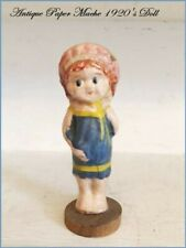 Antique Paper Mache Papier-Mache Doll Figurine 1920's Bathing Suit Wood Base