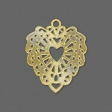 4836FY  Lazer Lace™ Charm Drop, Gold ptd Brass, 26x24mm Fancy Heart, 20 Qty