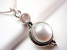 Cultured Pearl and Rose Quartz Pendant 925 Sterling Silver Round Cabochon New