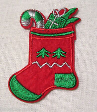 ÉCUSSON PATCH APPLIQUE  thermocoll​ant - CHAUSSETTE BOTTE DE NOËL ** 6 x 8 cm **