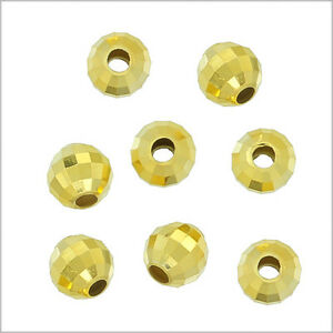 20x 18kt Gold Over Sterling Silver Round Disco Faceted Spacer Beads 4mm #97186