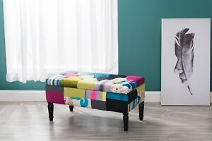 WestWood Fabric Patchwork Footstool Storage Bench Ottoman Multicolour Retro PC03