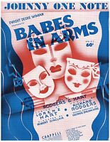 RODGERS & HART Sheet Music BABES IN ARMS from JOHNNY ONE NOTE 1937