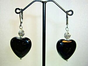 NATURAL BLACK ONYX HEART EARRINGS WITH STAINLESS STEEL LEVERBACKS