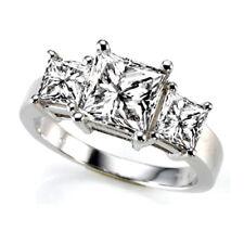 Three Stone 1.68 Carat VS2/H Princess Cut Diamond Engagement Ring White Gold