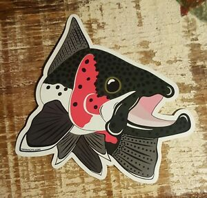 """STEELHEAD TROUT Sticker Decal fly fishing Kype 4"""" x 4 1/2"""" glossy weather proof"""