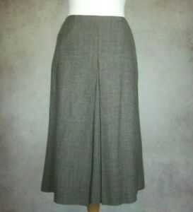 Sportmax Brown Country Check Wool Skirt Size UK 14 Lined Smart Work Pockets