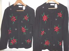 PEARLS & POINSETTIAS Matching lot Set 2 Christmas Sweaters M & XL beads