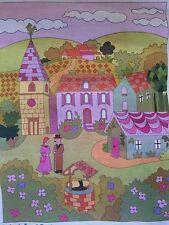 """Large Tapestry canvas """"La Place Du Village"""" DMC ACTUELLE  - NEW - Art Deco style"""