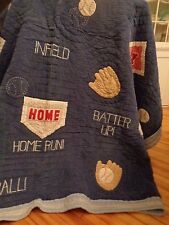 POTTERY BARN KIDS quilted baseball comforter corduroy 86 x 86 full