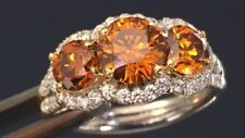 "2.50ct Plat Ring GIA Natural Deep""ORANGE"" Diamond Gem Stone Estate Rare Color"