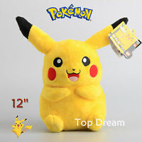 Rare Pokemon Cuddly Pikachu Plush Toy Soft Stuffed Doll 12'' Teddy Xmas Gift