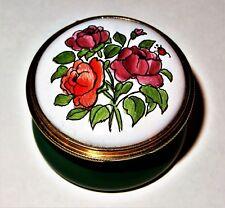 Staffordshire English Enamel Box - Flower Of The Month - June - Roses - Ladybug