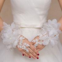 Elegant Lace Fingerless Short Paragraph Flower Bridal Wedding Gloves White