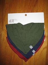 NEW Lot of 3 H&M baby BANDANA BIBS green navy blue red drool costume cowboy boy