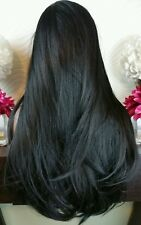 Beautiful Black Lace Front Wig Long Straight  Heat Safe
