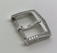 Authentic Harry Winston 16mm 18k Solid White Gold Diamond Tang Buckle OEM