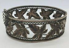 Antique Victorian Sterling Silver Maple Leaf Bangle Bracelet