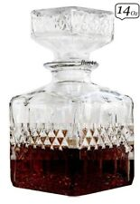 LIQUOR WHISKEY DECANTER VINTAGE GLASS CRYSTAL BOTTLE WINE STOPPER BarSCOTCH 14oz