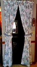 White w/Blue Red Yellow Floral Pattern - 2 Unlined Panels Topper Valance & Ties