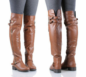Tan Fashion Faux Leather Military Combat Womens Over the Knee Boots Size 6.5