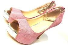 Fashionable Pink Ankle Wrap Platform Peep-Toe Stiletto Heels Prom Shoes US 8.5 M