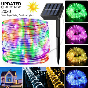 Solar LED Rope Lights Fairy Waterproof Outdoor Holiday Garden Tube String Light