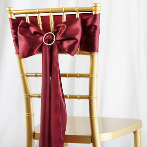 100 New Satin Chair Sashes Bows Ties Wedding Party Home Decorations Wholesale