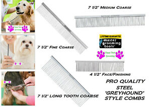 Master Grooming Tools GREYHOUND Style STEEL Dog Cat Pet GROOMING COMB*ALL BREED