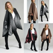 Ladies Women Fashion  Winter Wool Dog tooth Cape Blanket Wrap Poncho Shawl UK
