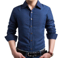 Mens Long Sleeve Button Casual Work Slim Fit Pattern Spring Fashion Shirts Tops