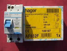 Réf AF932F OU AFC932F DISJONCTEUR DIFFERENTIEL HAGER 1P+N 32A 300mA type AC