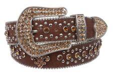 Rare Western Rodeo Cowgirl Fleur De Lis Croco Print Brown Rhinestone Belt SM