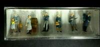 PREISER HO FIGURES Set #10513, AT THE PLATFORM, 1/87 Scale, Hand-painted NIB