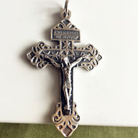 "S925 Sterling Silver Large PARDON 2.2"" Pius X Indulgenced Pardon crucifix Cross"