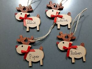 PERSONALISED REINDEER WOODEN HANGING RUDOLPH CHRISTMAS TREE DECORATION BAUBLE