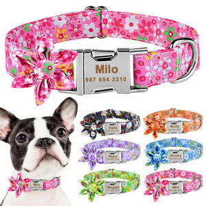 Personalised Floral Dog Collar Custom Girl Female Pet Collars Engraved Name Tag