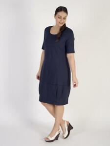 Womens Plus Size NEW Vetono Navy Plain Jersey Dress Size 16