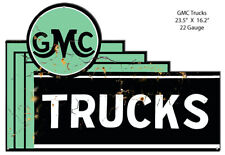 Vintage Antique Style Metal Sign Gmc Trucks Cut Out 23x16