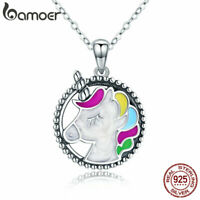 BAMOER Solid S925 Sterling Silver Women Necklace Enamel unicorn Dangle Jewelry