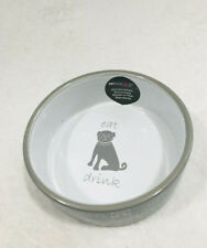 Petrageous Playful Pet Eat, Drink, Bark Dog Bowl Handcrafted Stoneware Gray
