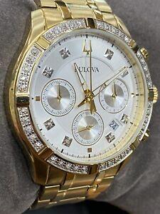 Nice Bulova Men's Chronograph Diamond-Accent Gold-Tone 98E113 42mm Watch