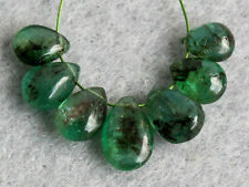 Natural Medium Green Emerald Smooth Plain Pear Briolette Gemstone Beads 006