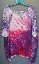 Catherine's Lane Bryant Women's Pink Purple Shirt Leaf Design Plus Size 4X 5X