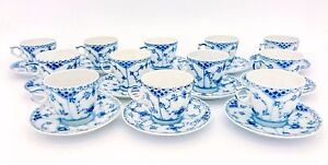 12 Cups & Saucers #719 - Blue Fluted Royal Copenhagen - Half Lace - 1:st Quality