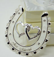 JUST MARRIED Lucky Bridal Wedding Gift Horse Shoe Ivory Enamel & Diamonte Design