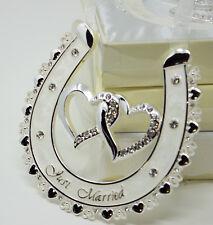 JUST MARRIED Lucky Bridal Wedding Gift Horse Shoe Ivory Enamel & Diamonte Design