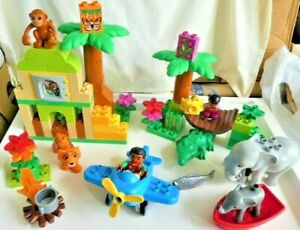Lego Duplo Set 10804 Jungle with 5 Animals, 2 Minifigs - No Box, No Orange Skirt