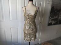 Size: S ARDEN B Sequins Mini Dress Gold Cocktail Spaghetti Straps Womens